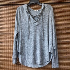 GAP Lace-up Pullover Hooded Sweater